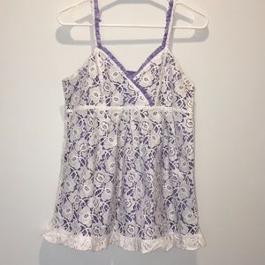 Kenzie Purple And White Lace Top